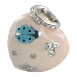 Aaron Basha 18K White Gold Peach Lady Bug Heart Diamond Pendant
