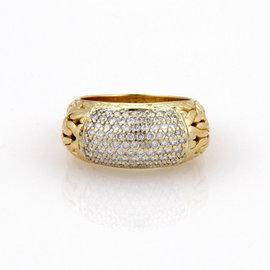 John Hardy 18K Yellow Gold Pave Diamond Byzantine Cocktail Ring