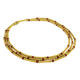 David Yurman 14K Yellow Gold & Red Coral Multi Strand Necklace