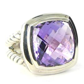 David Yurman Albion Ring Amethyst Cable Sterling Split Shank