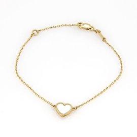 Van Cleef & Arpels 18K Yellow Gold Sweet Alhambra Mother of Pearl Heart Bracelet