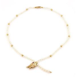 Carrera y Carrera 18K YG Akoya Pearl Strand Diamond Ruby Eagle Pendant