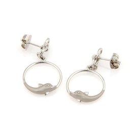 Carrera y Carrera 18K White Gold Circular Dolphin Dangle Earrings