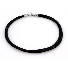 Bvlgari 18K White Gold Multi Strand Black Cord Designer Necklace