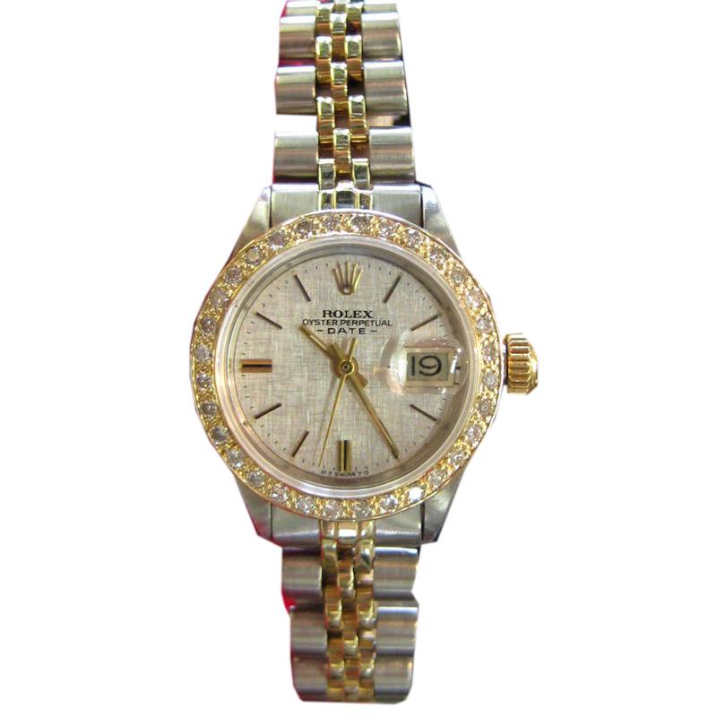 """""Rolex Oyster Perpetual Date Diamond Bezel Yellow Gold Steel Watch 25mm"""""" 134614"