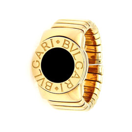 Bulgari Tubogas 18K Yellow Gold & Onyx Band Ring