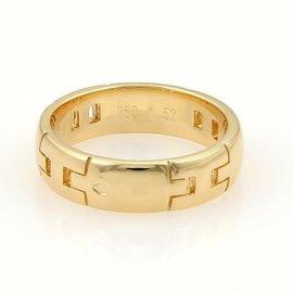 Hermes 18k Yellow Gold Logo Wedding Band Ring