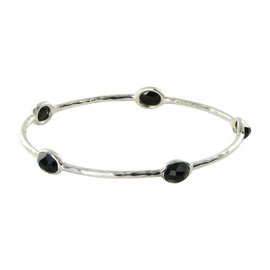 Ippolita Sterling Silver Black Onyx Candy 5 Stone Bangle Bracelet