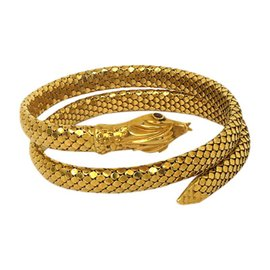 18K Yellow Gold & Rubies Coiled Snake Wrap Bangle