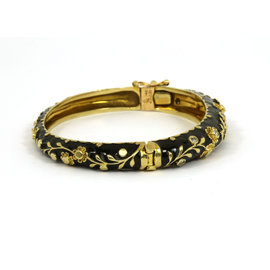 14K Yellow Gold Diamonds Ladies Floral Motif Bangle Bracelet
