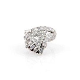 Platinum Triangle & Round Cut Diamond Solitaire Cocktail Ring