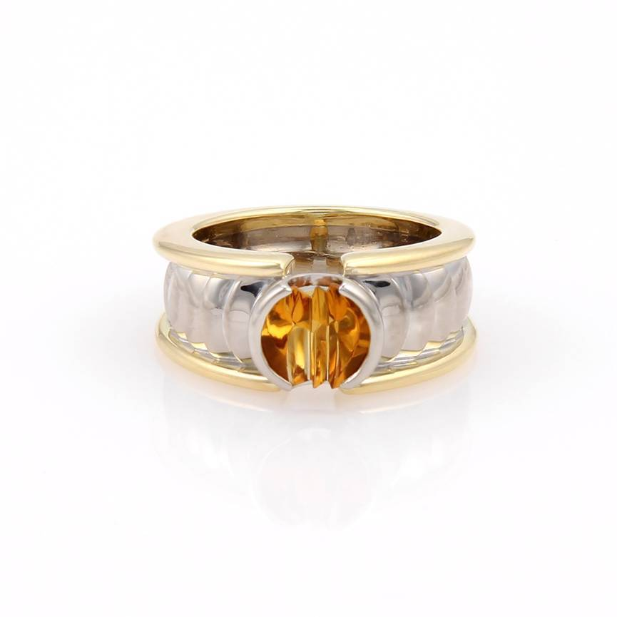 "Image of ""Georg Jensen 18K Two-Tone Gold Citrine Solitaire Band Ring"""