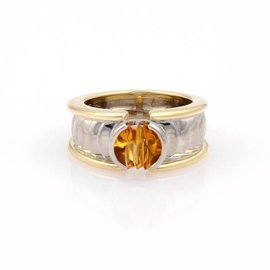 Georg Jensen 18K Two-Tone Gold Citrine Solitaire Band Ring
