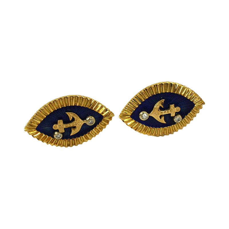 """""18K Yellow Gold Diamond & Blue Enamel Marquise Shape Anchor Cufflinks"""""" 189266"