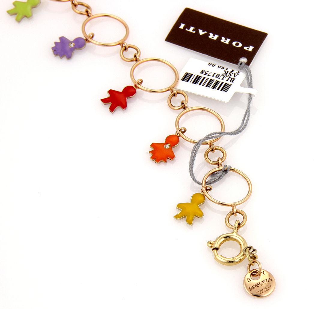 "Image of ""Roberta Porrati Baby Caracol 18K Yellow Gold Diamond Charm Bracelet"""