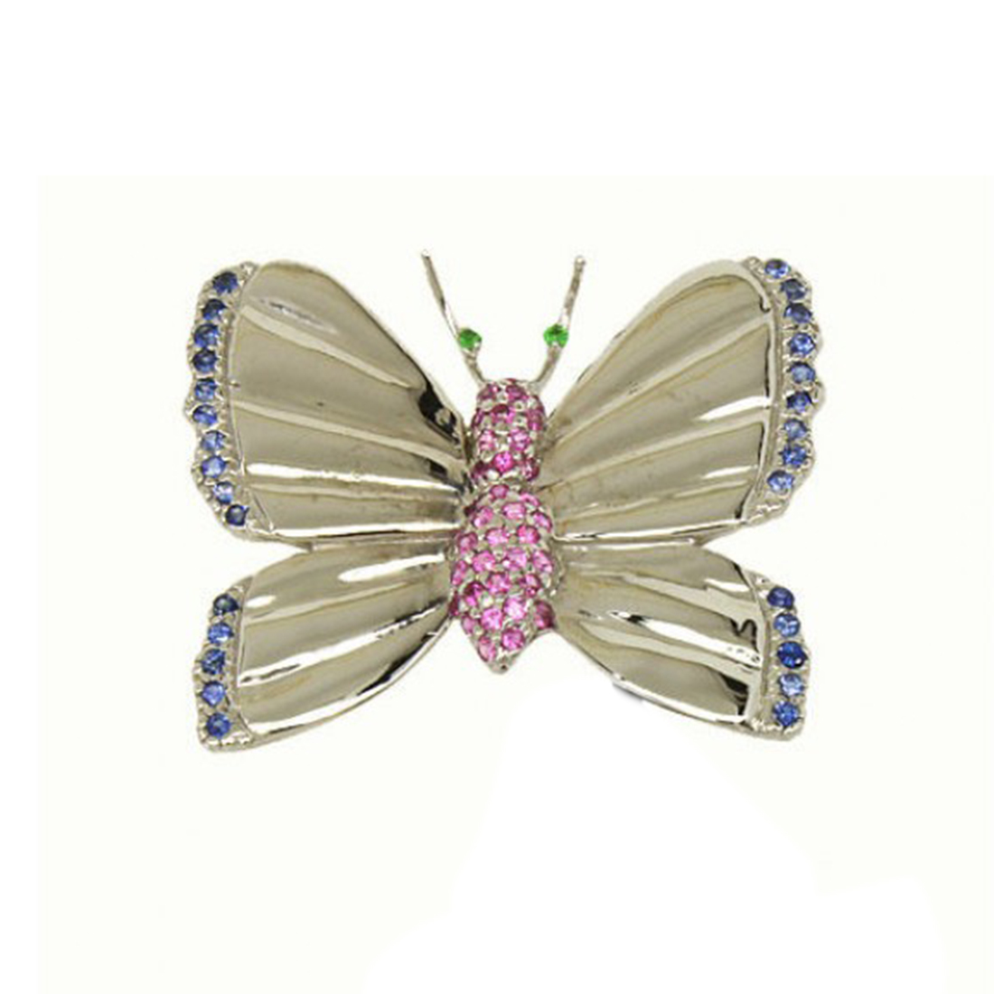 """""""""""Le Vian 14k White Gold Blue & Pink Sapphire Butterfly Pin"""""""""""" 189576"""