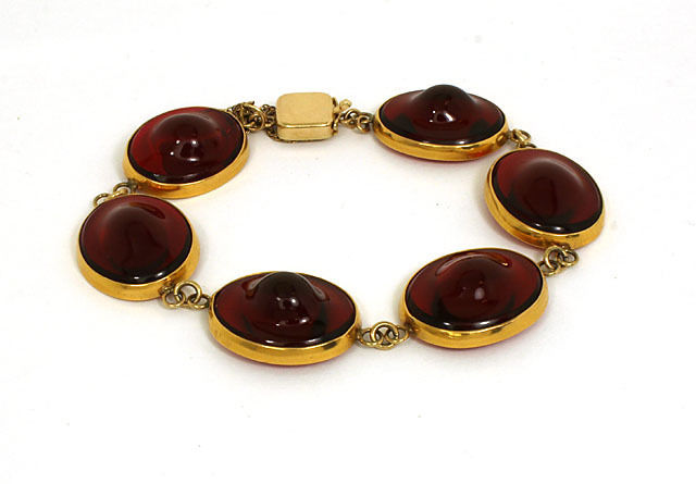 "Image of ""14K Yellow Gold & Red French Glass Ladies Bracelet"""