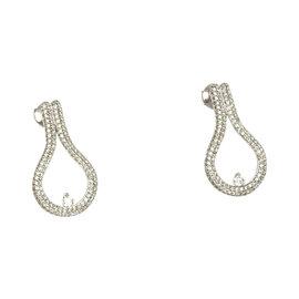 Designer Movado 18k White Gold & 2 Cts Diamonds Ladies Drop Dress Earrings
