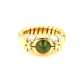 Bvlgari 18k White & Yellow Gold Tubogas Green Tourmaline Adjustable Gold Ring