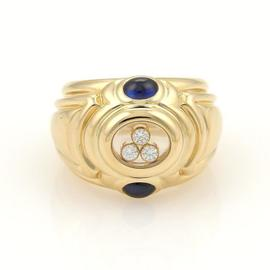Chopard 18k Yellow Gold Happy Diamond Sapphire Large Dome Design Band Ring