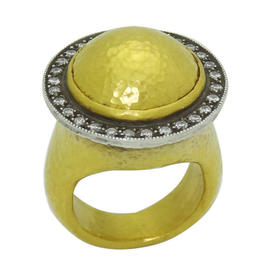 Gurhan 24K Hammered Gold and Diamond Dome Ring
