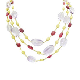 Marco Bicego 18K Yellow Gold Three Strand Amethyst Necklace