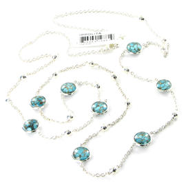 Ippolita 925 Sterling Silver Rock Candy Mini-Lollipop & Ball Bronze Turquoise Quartz Necklace