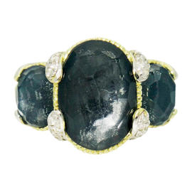 Judith Ripka 18K Yellow Gold Diamond & Faceted Gray Stone Ring