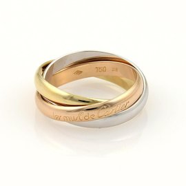 Cartier Trinity 18K Tri-Color Gold Bands Ring 8.5