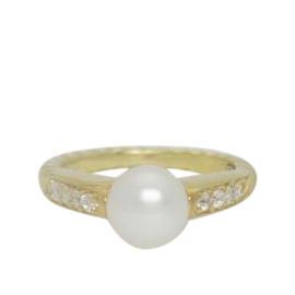 David Yurman 18K Yellow Gold Pearl Diamond Ring