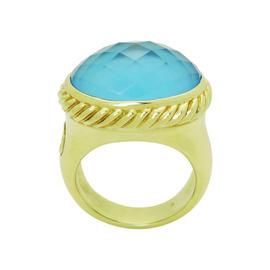 David Yurman 18K Yellow Gold Oval Blue Topaz Signature Ring