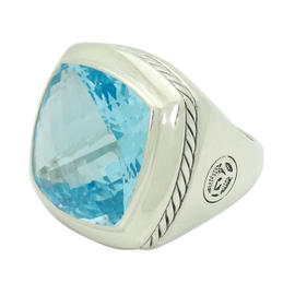 David Yurman 925 Sterling Silver Albion Faceted Blue Topaz Ring