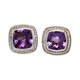 David Yurman Albion Diamond Amethyst Sterling Silver Clip Earrings