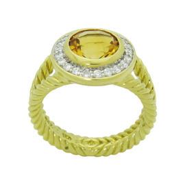 David Yurman 18K Yellow Gold Diamond & Citrine Cerise Ring