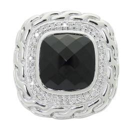 John Hardy Batu Mata Silver Black Chalcedony & Diamond Large Square Ring