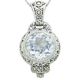 John Hardy Batu Sari 18K Yellow Gold Silver Diamond & White Topaz Round Pendant