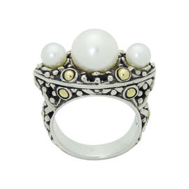 John Hardy Jaisalmer 18K Yellow Gold Sterling Silver & Pearl Ring