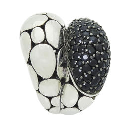 John Hardy Kali Arus Sterling Silver Bold with Black Sapphires Ring