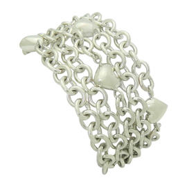 Tiffany & Co. 925 Sterling Silver 5 Chain Heart Charms Toggle Bracelet