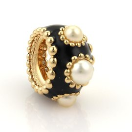 Chanel Pearls & Enamel 18K Yellow Gold Wide Band Ring