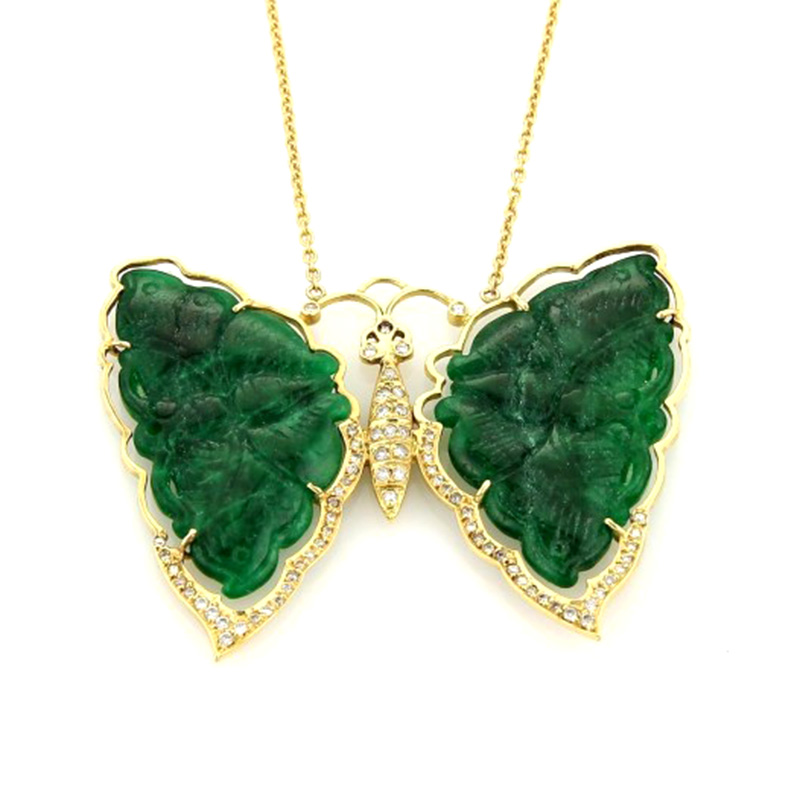 "Image of ""18K Yellow Gold Diamonds & Jade Large Butterfly Pendant & Chain"""
