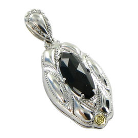 Tacori 18K Yellow Gold 925 Silver Classic Rock Engraved Marquise Onyx Pendant