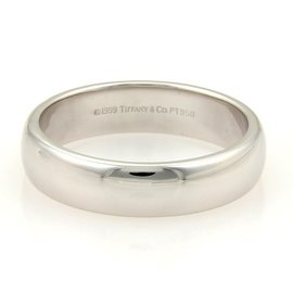 Tiffany & Co. Platinum Wide Plain Wedding Band Ring 11.75