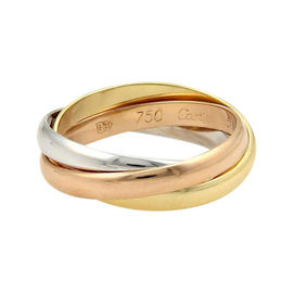 Cartier Trinity 18K Tri-Color Gold Rolling Band Ring Size 5.25