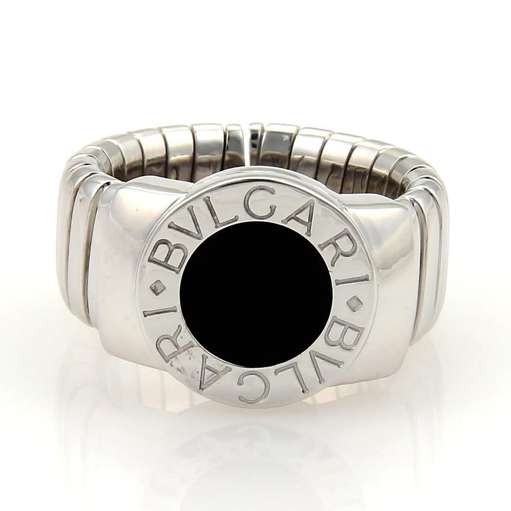 "Image of ""Bulgari Tubogas 18K White Gold & Onyx Band Ring Size Small"""