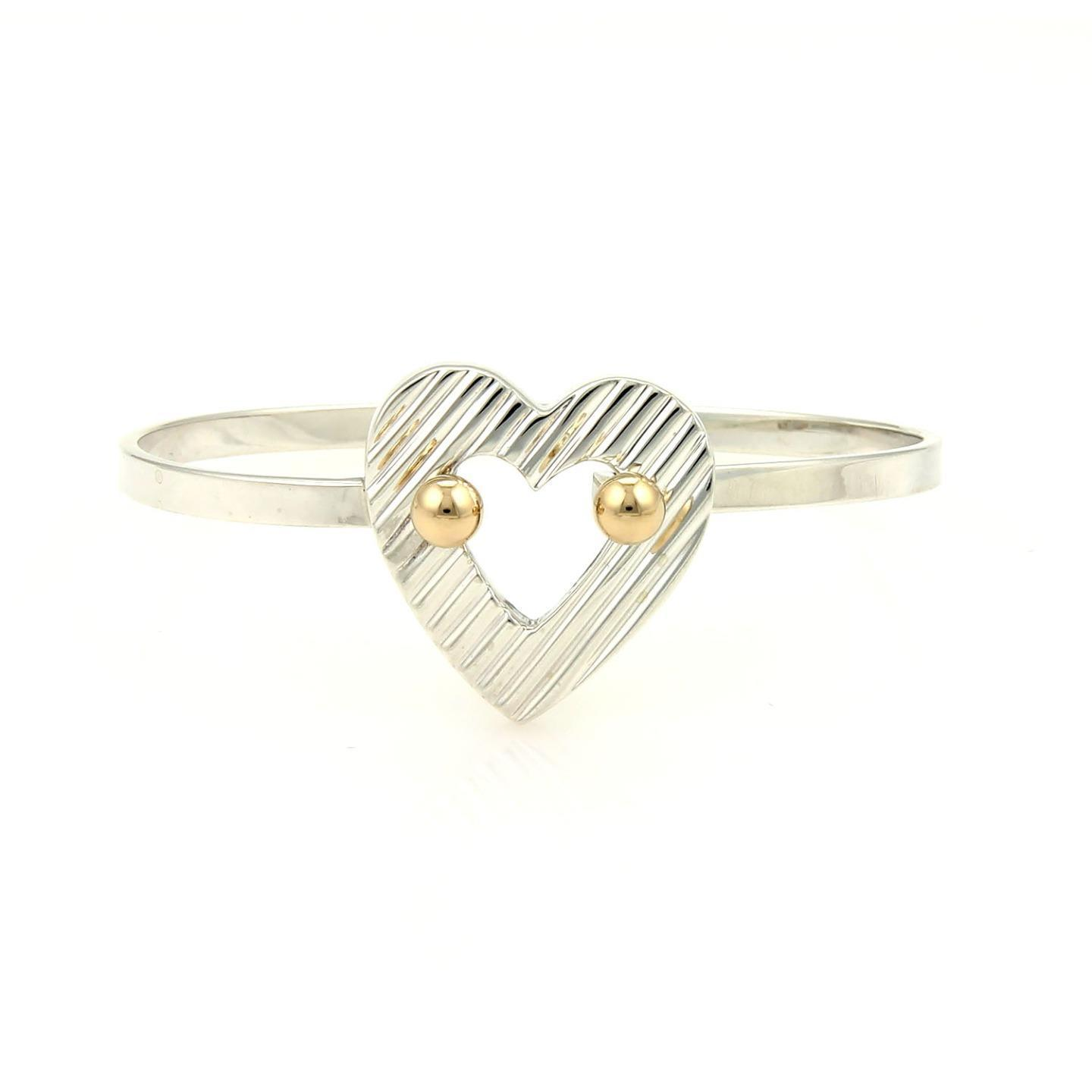"Image of ""Tiffany & Co. 14K Yellow Gold Sterling Silver Heart Hook Band Bracelet"""
