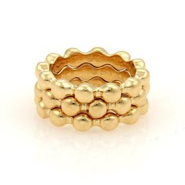 Chanel 18K Yellow Gold Beaded Stack Band Rings