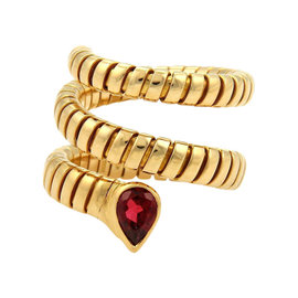 Bulgari 18K Yellow Gold Tubogas Pink Tourmaline Wrap Band Ring Size Large