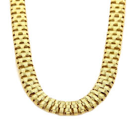 Roberto Coin 18K Yellow Gold Diamonds Basket Weave Collar Necklace