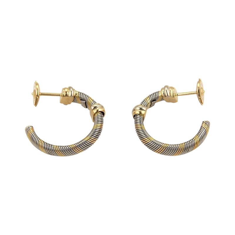 "Image of ""Cartier 18K Tri-Color Gold & Steel Wire Wrap Hoop Earrings"""